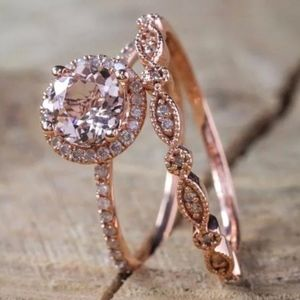 Halo 18k Plated Rose Gold Ring